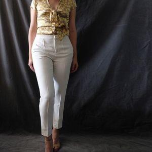 Chloé Milk Pleated Straight Slim Pants